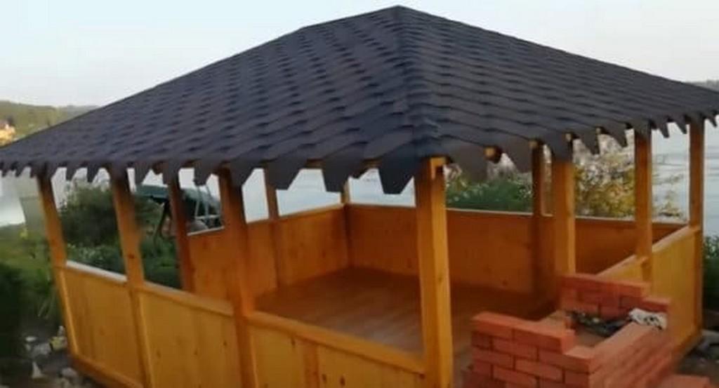 Прямоугольная беседка 4/5 м с черепичной крышей